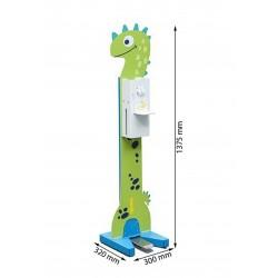Stacja do dezynfekcji rąk dla dzieci - kolorowy nożny dozownik płynu dezynfekcyjnego wraz ze stojakiem ze wzorem Dinozaur