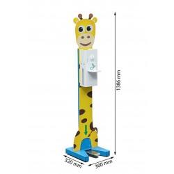 Stacja do dezynfekcji rąk dla dzieci - kolorowy nożny dozownik płynu dezynfekcyjnego wraz ze stojakiem ze wzorem Żyrafa