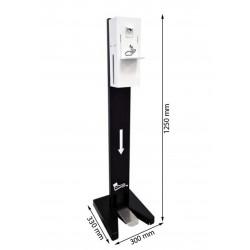 Stacja do dezynfekcji rąk - nożny dozownik płynu dezynfekcyjnego wraz ze stojakiem i podstawką zapobiegającą kapaniu