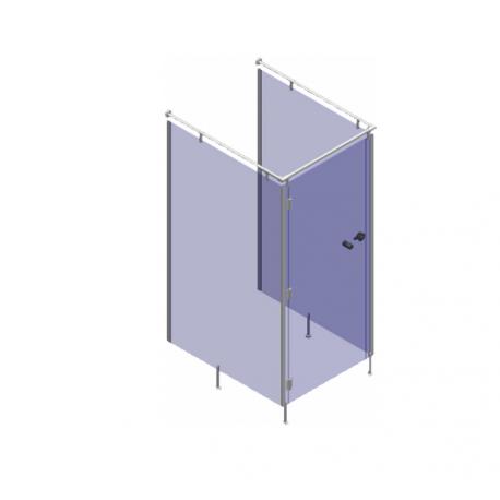 Zestaw 2 kabin sanitarnych narożnych WC z płyty HPL
